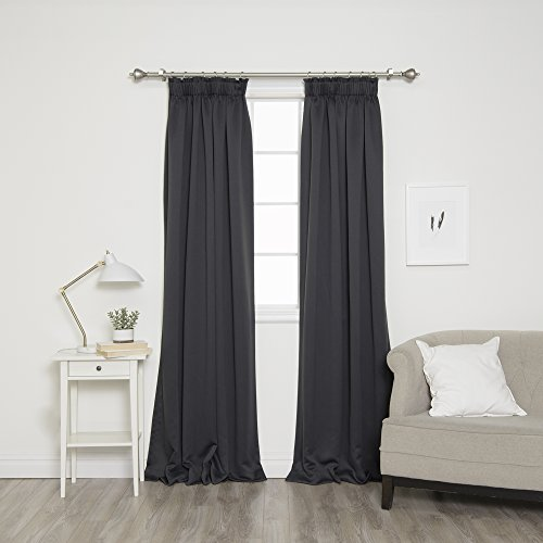 "Best Home Fashion Pencil Pleat Blackout Curtains - Rod Pocket/Pleat Header - Dk.Grey - 52"" W x 84"" L (Set of 2 Panels)"