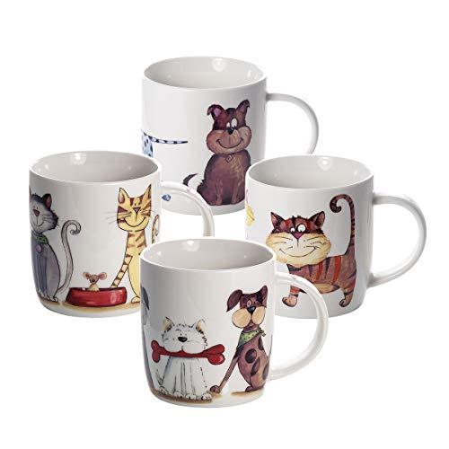Set 4 Tazze Mug per Caffé e Té, Tazze da Colazione Caramica con Disegni Cane e Gatto di Animali Idee Regalo Donna Uomo e Bambini