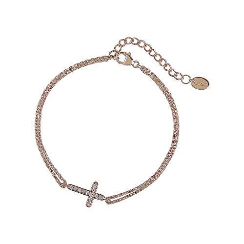 DOOSTI Pulsera de cadena con cruz de plata 925 chapada en oro rosa