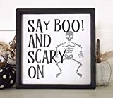 Tiukiu Wood Sign for Home Decor, Say Boo! and Scary On Halloween Wood Sign, Funny Fall Sign, Skeleton Decor, Halloween Mini Signs, Farmhouse Style Halloween Wall Decor