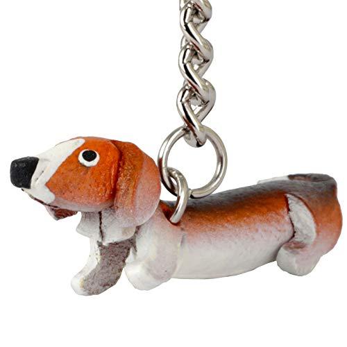 Monkimau Damen Schlüsselanhänger Dackel Hunde Figur aus Leder