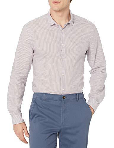 John Varvatos Slim FIT Shirt with Wire Inserted Shaped Stand Col Camisa Abotonada, Iris, XS para...