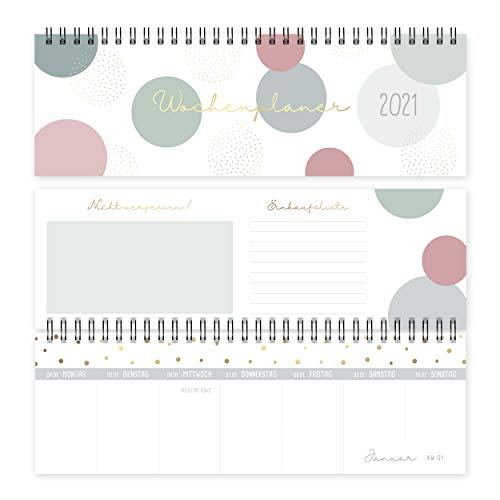 Tischkalender 2021 quer | Wochenplaner im Querformat | Tischquerkalender und Terminplaner für Büro oder Zuhause, mit Wochennummern, Notizen und Einkaufslistee