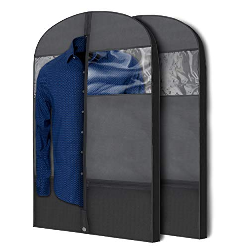 Plixio Gusseted Garment Bags Suit Bag for Travel and Clothing Storage of Dresses, Dress Shirts, Coats— Includes Zipper Pockets and Large Transparent Window (2 Pack: 43' x 24' x 3.4')