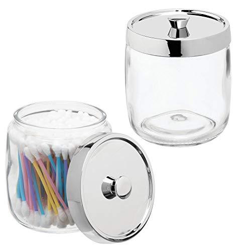 mDesign 2er-Set Wattestäbchenbehälter aus Glas – Behälter für Wattepads, Wattestäbchen und Wattebäusche mit Deckel aus Kunststoff – Wattespender in schlichtem Design – durchsichtig/silberfarben
