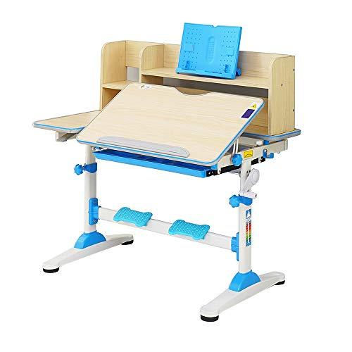 Style home Kinderschreibtisch höhenverstellbar neigbar, Schülerschreibtisch mit Bücherregal und Schublade, Jugendschreibtisch Schreibtisch für Kinder, B/T/H: 95,9 x 53 x 84-109 cm (Blau)