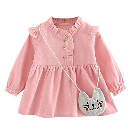 Zegeey Baby MäDchen Kleid Kleinkind Langarm Prinzessin Kleid Kleidung Geburtstag Geschenk(A3-Rosa,0-6 Monate)