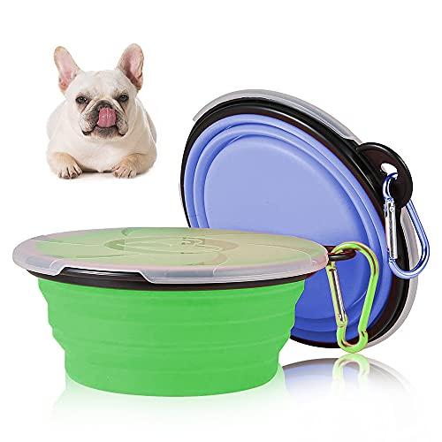 Haustier Klappbarer Reisenapf, Faltbar Hundenapf, Hund Reisenäpfe Tragbar Silikon Auslaufsicher Trinknapf Fressnapf mit Deckel und Karabiner
