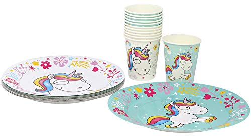 com-four® 28-teiliges Party Geschirr Set Unicorn mit Einhorn Motiven für 12 Personen, Pappteller...