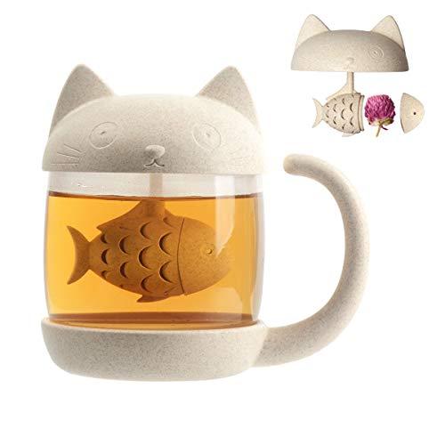Cymax 250ml Katze Glas Tasse Teetasse mit Fisch Tee Infuser Siebfilter Wasser Becher Perfektes Weihnachten Geburtstag Geschenk für Katzenliebhaber