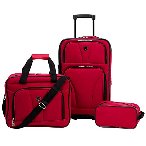 Travelers Club 3 Piece Bowman Luggage Set, Red Carry