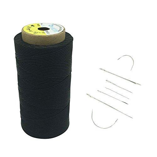 Yulakes 260 Meter 1mm Leder gewachst Wachs Thread Cord Ledergarn Nähen Handwerk Mit 7pcs lederne nähende Nadeln (schwarz)
