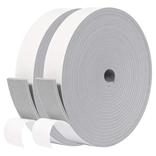 fowong Foam Tape 25mm(W) X 3mm(T),Closed Cell Foam Tape Seal for Doors and Windows Insulation, Total 10M Long((2 Rolls of 5M Long Each)
