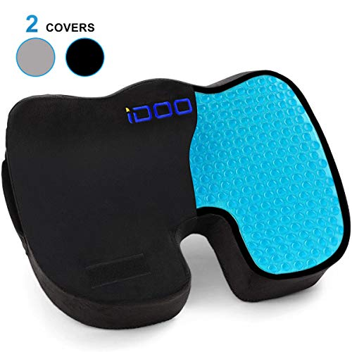 iDOO Cooling Gel Seat Cushion for Office Chair, 100% Memory Foam Gel Seat Cushion, Coccyx Orthopedic Pad for Tailbone Pain, Kitchens Chair Car Seat...