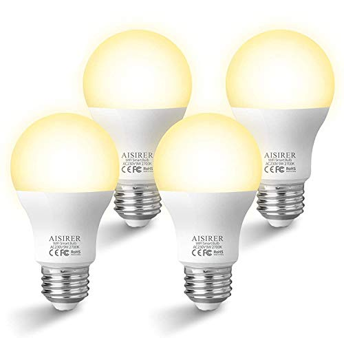 Alexa Light Bulb, 9W 806LM Smart Bulbs, AISIRER WiFi Dimmable LED Bulb, Timing Function, Compatible with Alexa Echo Echo dot Google Home, 60 Watts Light Bulb, A19 E26 2700K, No Hub Required, 4 Pack