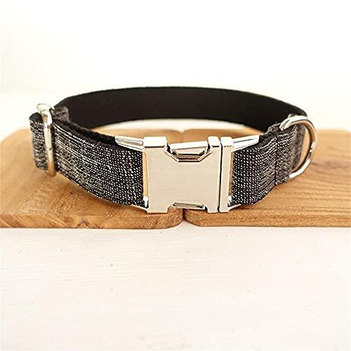 Collar Personalizado para Mascotas Placa de identificación Personalizada Etiqueta de identificación Fibra de Lino Ajustable Traje Negro Collares para Perros y Gatos -Collar_L