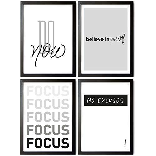 TOBJA® Hochwertiges Poster Set Motivation - Exclusive Premium Bilder mit Sprüchen | 4X DIN A4 Kunstdruck Bilderwand ohne Rahmen | Moderne Wandbilder Dekoration in schwarz weiß (Inspiration)