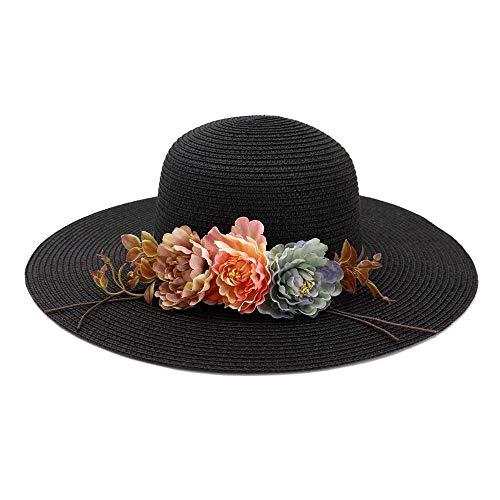 HHF Caps & Hüte Mädchen-Sonnenhut der zufälligen klassischen Frauen, breiter Rand-Rand-Sonnenhut Elegante Dame mit Kleid Frühlings-Sommer-Küste im Freien schöner Blumenkopf-Umfang justierbarer Hut