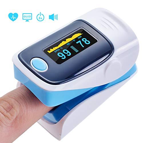 VIVIDHE Oximeter, Finger-Pulsoximeter Fingertip Blutsauerstoffsättigung Herzfrequenzmesser OLED Digitales Sauerstoffmessgerät Erwachsene und Kind,Blue-OneSize