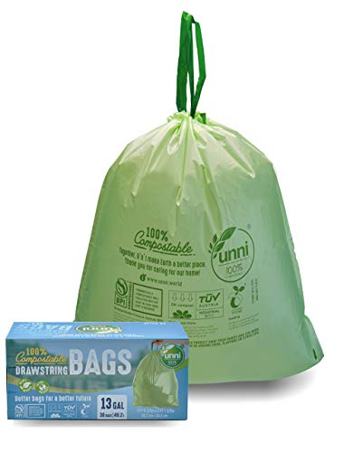 UNNI 100% Compostable Tall Kitchen Drawstring Trash Bags, 13 Gallon, 49.2 Liter, 30 Count, Heavy Duty 1 Mils, Food Waste Bags, US BPI and Europe OK Compost Certified, Earth Friendly Highest ASTM D6400