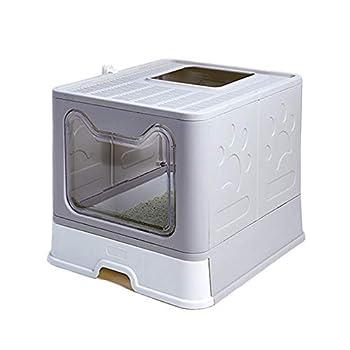 Meikuler Bac à litière pliable pour chat - Entrée avant (avec panneau de porte) et sortie supérieure - Très grand espace - Maison de toilette pour chats avec bacs amovibles + pelle à litière (gris)