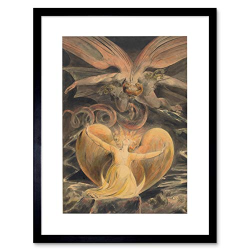 WILLIAM BLAKE BRITISH GREAT RED DRAGON WOMAN CLOTHED SUN ARTWORK PRINT B12X5450