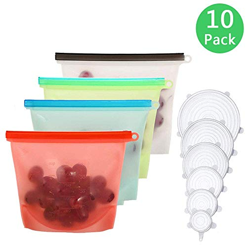 Reusable Food Storage Bag Grocery Bags 4 Pack with Airtigh Seal Silicone Stretch Lids 6 Pack Kitchen Storage Organization Sets 1L (34oz)