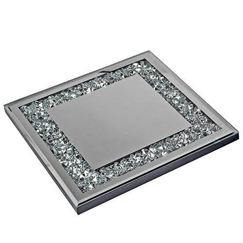 Edles Dekotablett mit Spiegelplatte und Strass Spiegel Tablett Kerzentablett