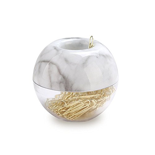 MultiBey Gold Paper Clips in Elegant Magnetic Marble White Clip Holder, 28mm, 100 Clips per Box