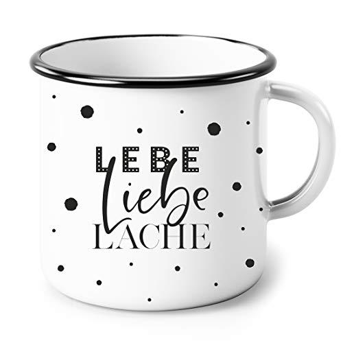 Heldenglück Lebe Liebe Lache   Geschenk   Freundin   Frau   Kaffeetasse   Geburtstagsgeschenk   Emailletasse   Emaille Tasse
