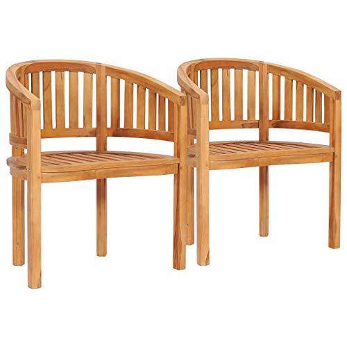 vidaXL 2X Teak Massiv Bananenstuhl Bananensessel Gartenstuhl Sessel Gartenmöbel Stuhl Gartensessel Holzstuhl Stühle Terrassenstuhl