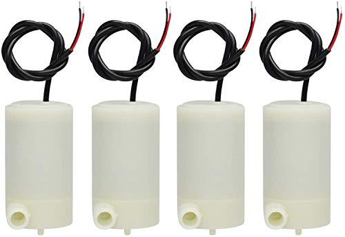 ICQUANZX 4 pezzi/set Mini micro pompa ad acqua sommergibile 3V -5V 1,2-1,6L / min 0,3-0,8 metri, per acquario fontana acquario