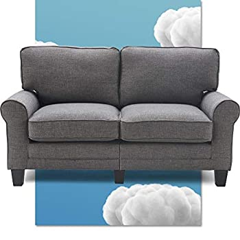 Serta Copenhagen 61  Loveseat - Pillowed Back Cushions and Rounded Arms Durable Modern Upholstered Fabric - Gray