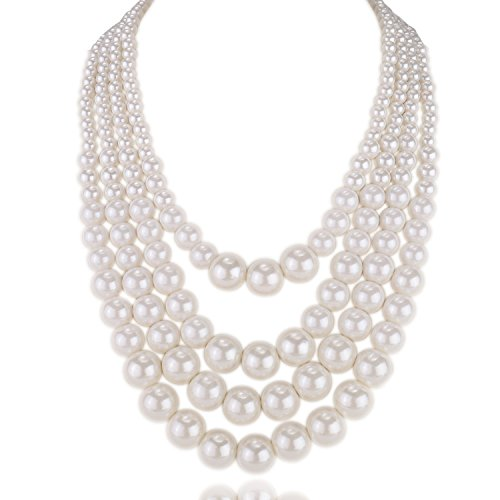 Kalse 4 Layer Strands Simulated Pearl Strand Bib Pendant Choker Chain Necklace White (4 Strands)