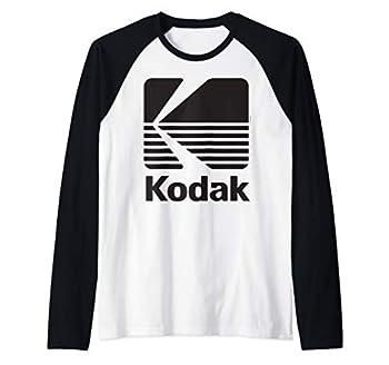 80 s Vintage Kodak Logo - Black Raglan Baseball Tee