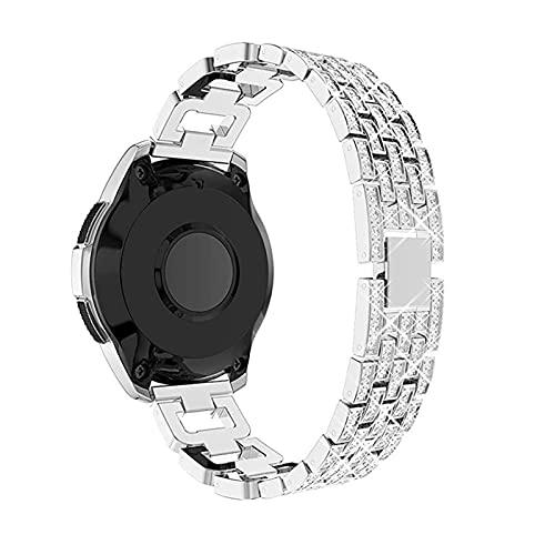ZYOONG Correa de reloj de acero inoxidable de 22 mm y 20 mm para Samsung Galaxy Watch de 46 mm/42 mm de diamante para mujer Gear S3 (color de la correa: plata, ancho de la correa: 20 mm)