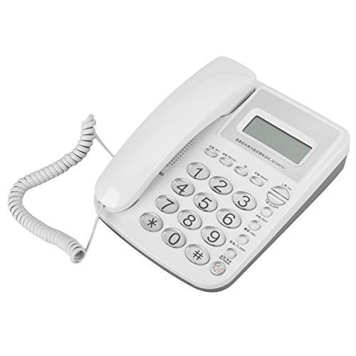 AEQ96761 Teléfono Fijo Doméstico con Botones de Cristal Clásico Grandes, DTMF/FSK Sistema Dual Teléfono Fijo Comercial de Diseño Simple para Oficinas Hoteles y Casas, Color Blanco
