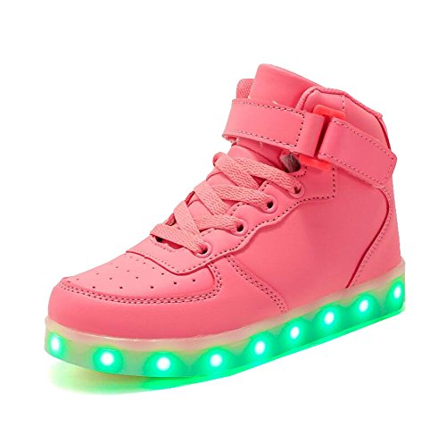 Rojeam Unisex Erwachsene High-Top LED Schuhe Sportschuhe USB Lade Outdoor Leichtathletik Beiläufige Paare Schuhe Sneaker Für Damen Herren Jungen Mädchen Kinder Rosa 42 EU