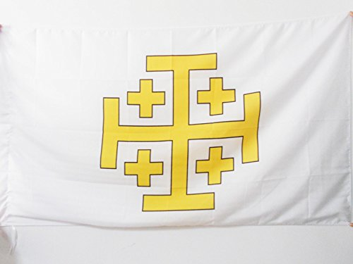 AZ FLAG Flagge KÖNIGREICH Jerusalem 150x90cm - KREUZFAHRERSTAATEN Fahne 90 x 150 cm Scheide für Mast - flaggen Top Qualität