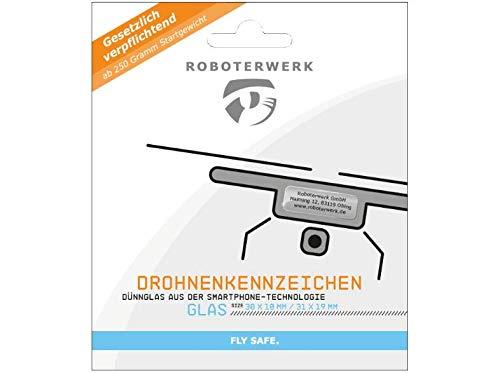 Roboterwerk cadeaubon voor een drone plaat (lasergelabelde kentekenplaat) glas, titanium of aluminium