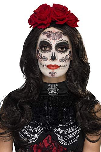 Smiffys 44962 - Damen Tag der Toten Augenmaske, Gesichtsfarbe, Wimpern, Schmuck und Applikatoren, One Size, schwarz