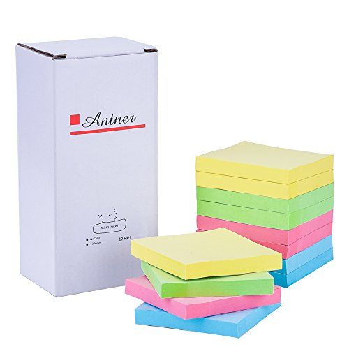 """Antner Sticky Notes 3"""" x 3"""" Self Sticky Notes Assorted Color, 12 Pack, 100 Sheets/Pad"""
