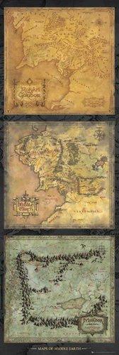 empireposter The Hobbit - Desolation of Smaug - Triptych Vorankündigungsplakat Tür Poster Druck - Grösse 53x158 cm