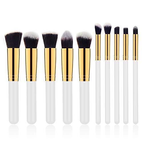 Pinceaux Maquillage pinceaux à maquillage professionnel - 11 pièces avec poignée en bambou synthétique premium Pour les fonds de teint, pinceaux à fard à joues, kabuki, à poudre, Pochette de Voyage