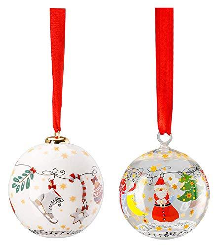 Hutschenreuther verzamelserie set 2018 vrolijke kerstbal porseleinen bal en glazen bol 02472-727204-27937 + 02253-727204-49707