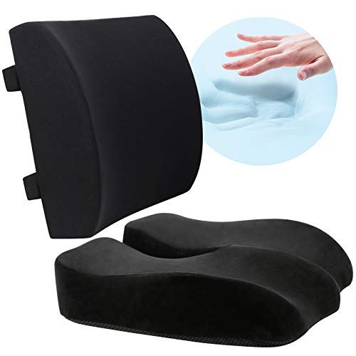 Wishcush Seat Cushion and Lumbar Support Pillow Set for Car Office Chair, Memory Foam Coccyx Seat Cushion for Lower Back, Tailbone, Sciatica Pain Relief