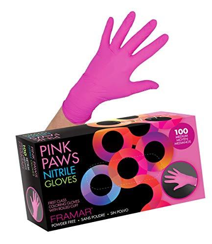 Framar Pink Paws Guantes de nitrilo sin polvo, látex sin goma, guantes desechables – no estéril, apto para alimentos,...