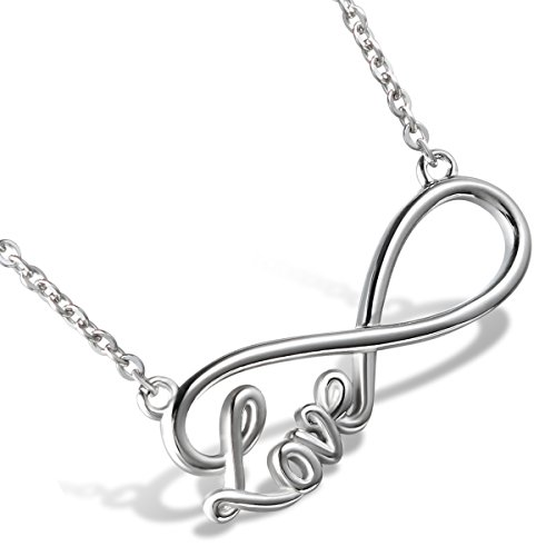 """cupimatch da donna Love in acciaio catena collana con ciondolo a forma di simbolo dell' infinito argento 18.1"""""""" + 2"""" Extende"""