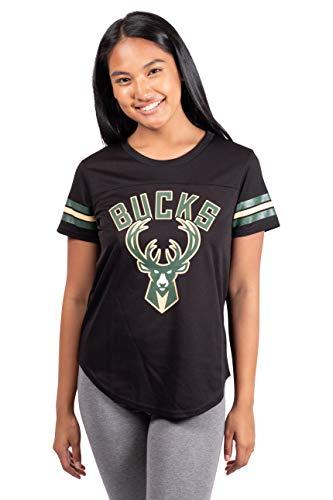 Ultra Game NBA Milwaukee Bucks Womens Soft Mesh Jersey Tee Shirt, Black, Large