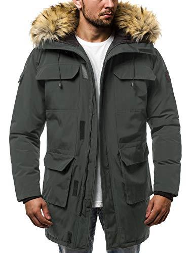 OZONEE Herren Winterjacke Parka Jacke Kapuzenjacke Wärmejacke Wintermantel Coat Wärmemantel Warm Modern Täglichen JS/201806 DUNKELGRAU 2XL